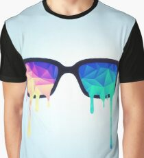 Psychedelic Nerd Glasses with Melting LSD/Trippy Color Triangles Graphic T-Shirt