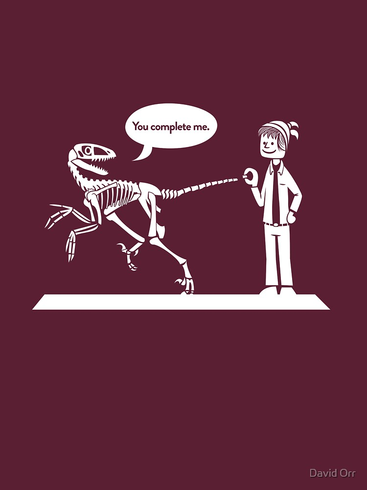 """You Complete Me"" Deinonychus and Paleontologist Toon by anatotitan"