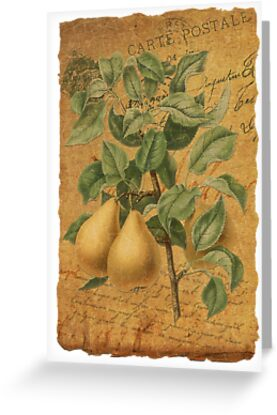 Vintage Pears & Ephemera Collage Design - Vintage Look Greeting Card - Pears by traciv