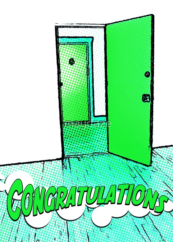 """""""congratulations on your new apartment"""" Greeting Cards by maydaze 