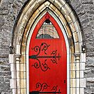 Red Door with Hinges by Ethna Gillespie