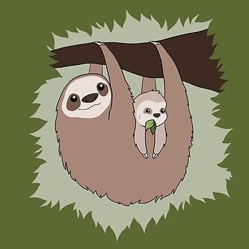 Sloth Mama and Baby by fizzeebee
