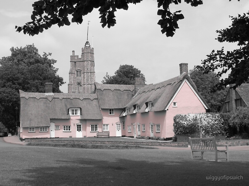 Pink Cottages, Cavendish, Suffolk by wiggyofipswich