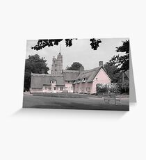 Pink Cottages, Cavendish, Suffolk Greeting Card