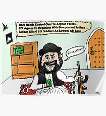 Happy Taliban Options Caricature Poster