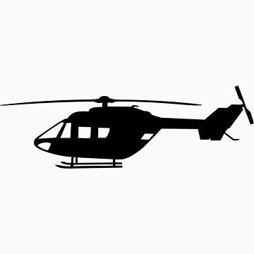 BK117 Helicopter Design in Black on a Sticker/T-Shirt by jnmvinylstudio