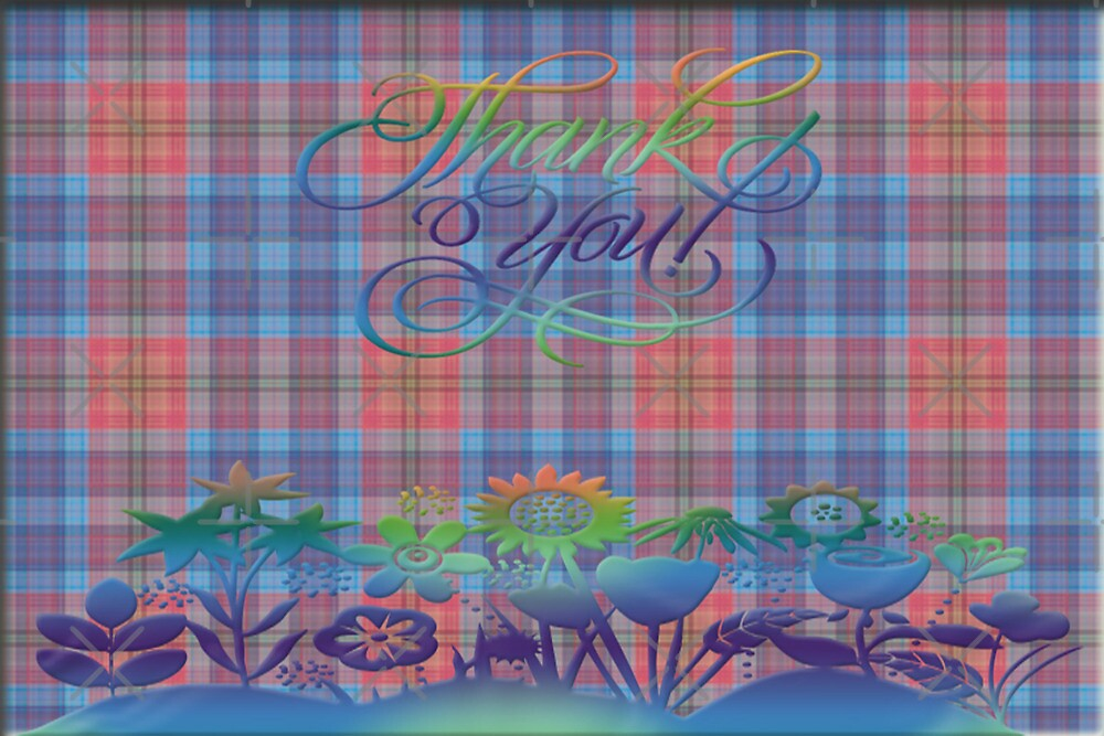 Plaid Thank You Note Card by Vickie Emms