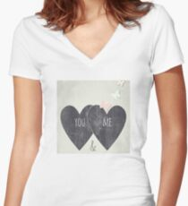 You and Me Women's Fitted V-Neck T-Shirt