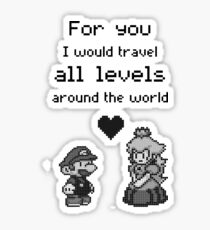 Pixel Mario and Peach Sticker