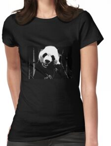 Cute Giant Panda Bear with tasty Bamboo Leaves Womens Fitted T-Shirt
