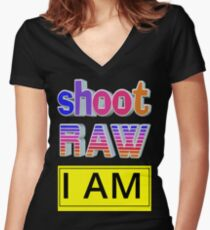 Shoot RAW: I AM Women's Fitted V-Neck T-Shirt