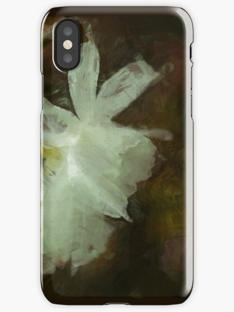 White Daffodils Floral Impressionist Painting by NaturePrints