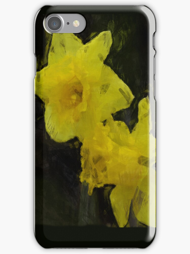 Yellow Daffodils Floral Impressionist Painting by NaturePrints