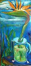 Bird of Paradise and Clouds in Coffee Pot by Barbara Sparhawk