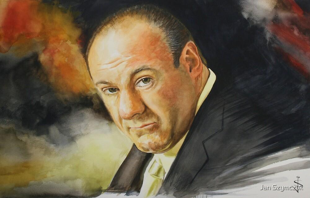 Watercolour Tribute of James Gandolfini (1961 - 2013) by Jan Szymczuk