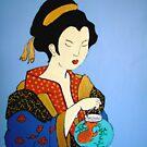 Geisha with Fish Tee by Shulie1