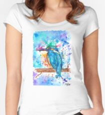 KINGFISHER - Watercolor bird painting - artwork by Jonny2may Tshirts + More! Women's Fitted Scoop T-Shirt
