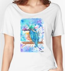KINGFISHER - Watercolor bird painting - artwork by Jonny2may Tshirts + More! Women's Relaxed Fit T-Shirt