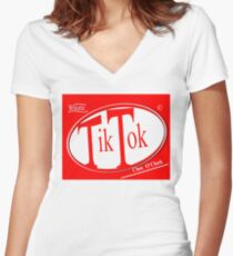 Tik Tok: Choc O'Clock Women's Fitted V-Neck T-Shirt