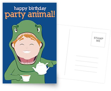 Party Animals Birthday Card Tea Rex