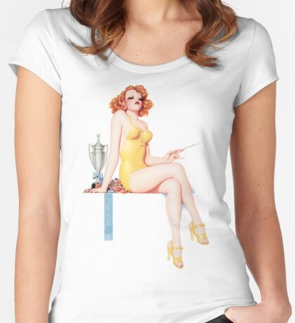Tasty Pinups™ Vintage Red Head Smoking Hot Women's Fitted Scoop T-Shirt