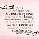 You Are My Sunshine – Nest – Square – Pink  by Janelle Wourms