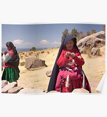 Taquile women, Lake Titicaca Poster