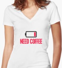 Need coffee Women's Fitted V-Neck T-Shirt