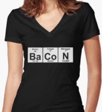 The Properties of Bacon Women's Fitted V-Neck T-Shirt