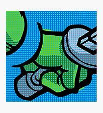 Lichtenstein Pop Martial Art Quelonians   Blue Photographic Print