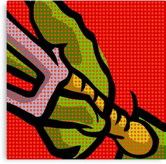 Lichtenstein Pop Martial Art Quelonians | Red by butcherbilly