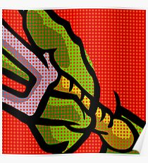 Lichtenstein Pop Martial Art Quelonians | Red Poster