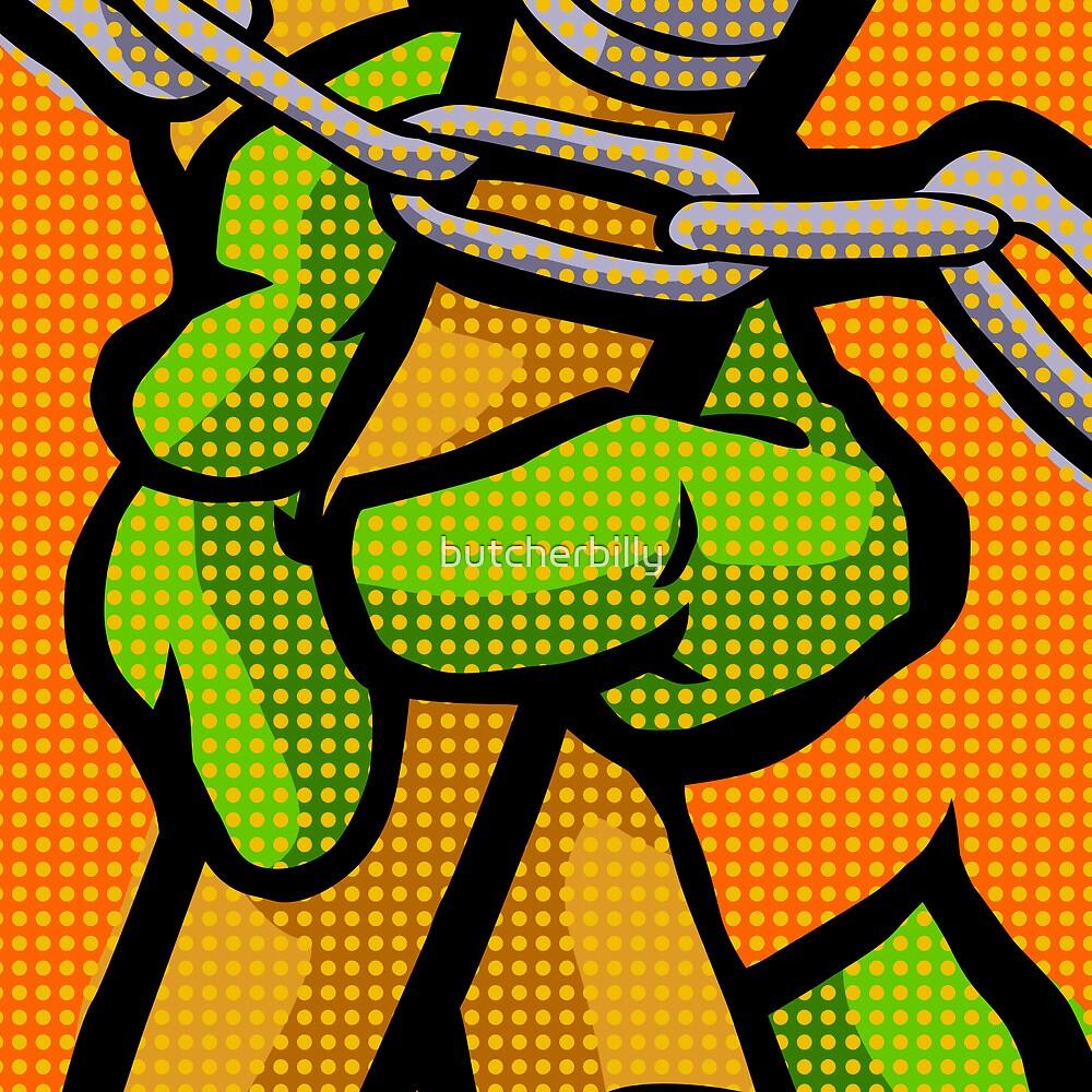 Lichtenstein Pop Martial Art Quelonians | Orange by butcherbilly