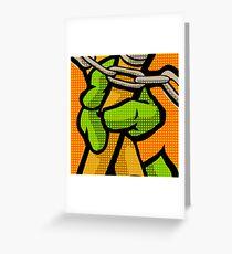 Lichtenstein Pop Martial Art Quelonians | Orange Greeting Card