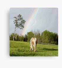 Palomino Paint Horse and Rainbow Artwork Canvas Print