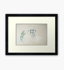 Pope Francis in pastel on calico Framed Print