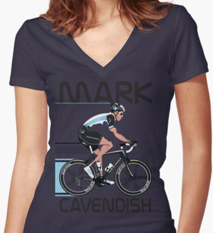Mark Cavendish Women's Fitted V-Neck T-Shirt
