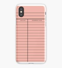 Vintage Library Card - Pink iPhone Case/Skin