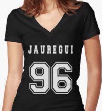 JAUREGUI - 96 // White Text Women's Fitted V-Neck T-Shirt