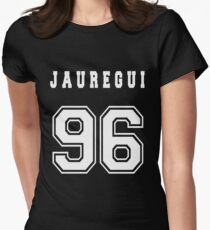 JAUREGUI - 96 // White Text Womens Fitted T-Shirt