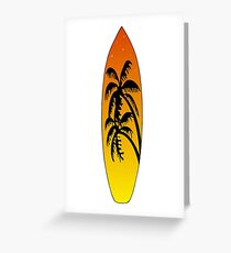 Surfboard Palm Trees (Sunset) Greeting Card