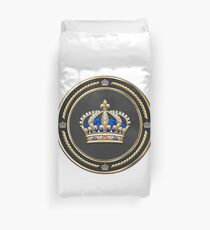 Royal Crown of France over White Leather  Duvet Cover