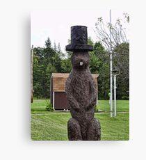 Groundhog statue Canvas Print