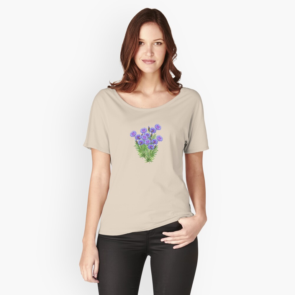 D1G1TAL-M00DZ ~ FLORAL ~ Cornflowers with Bees by tasmanianartist Women's Relaxed Fit T-Shirt Front