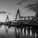 Anzac Bridge - B & W by Lorraine Creagh