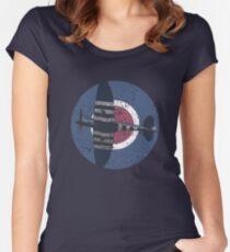 Vintage Fighter Plane Supermarine Spitfire Mark 19 Women's Fitted Scoop T-Shirt