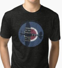 Vintage Fighter Plane Supermarine Spitfire Mark 19 Tri-blend T-Shirt