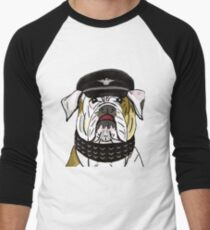 Funny and Tough Bulldog Wearing Leather Hat and Collar Men's Baseball ¾ T-Shirt