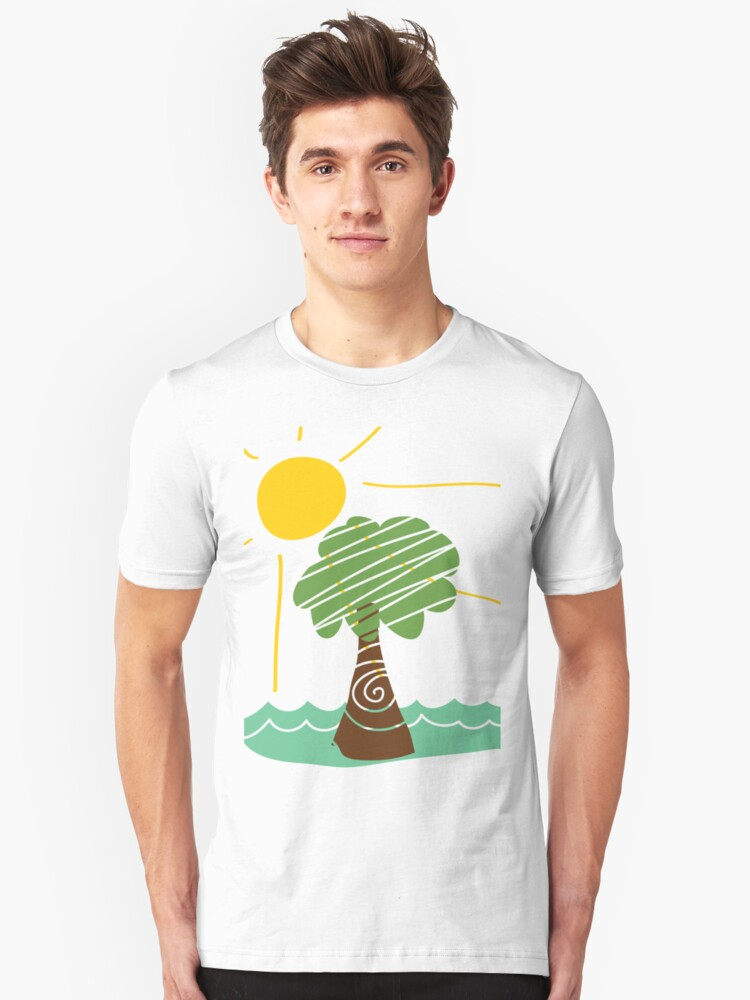 Island Breeze Sun and Palm Tree Ocean Unisex T-Shirt Front