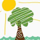 Island Breeze Sun and Palm Tree Ocean by songbird18